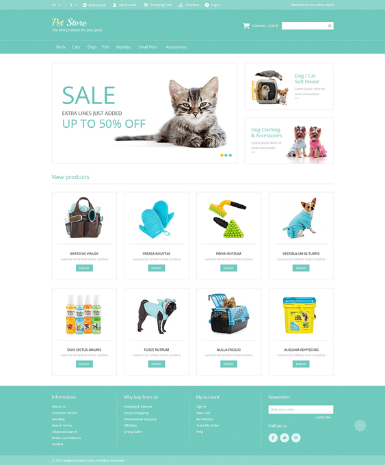 pet magento themes supplies