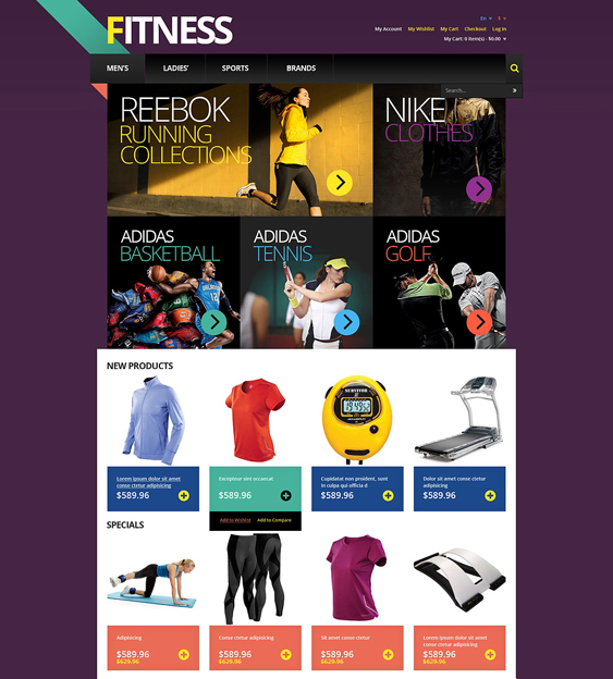responsive sports fitness magento themes
