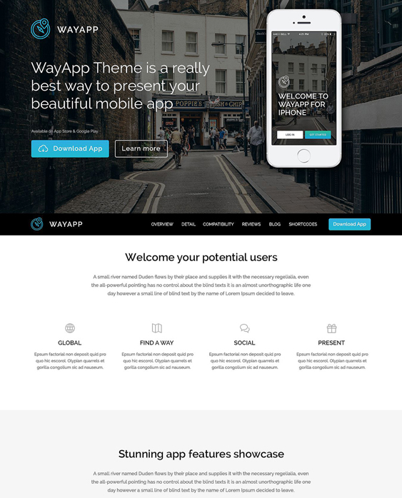 software wordpress themes promoting apps