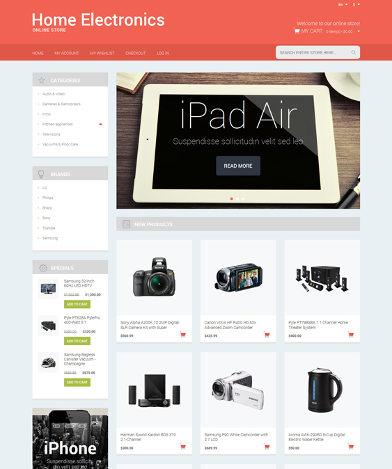 electronics magento themes stores