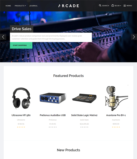 arcade music bigcommerce themes
