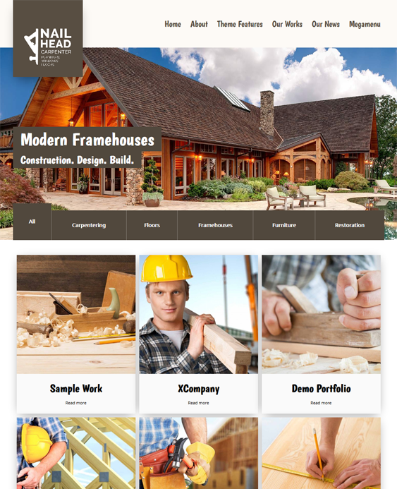 nailhead contractor construction wordpress themes