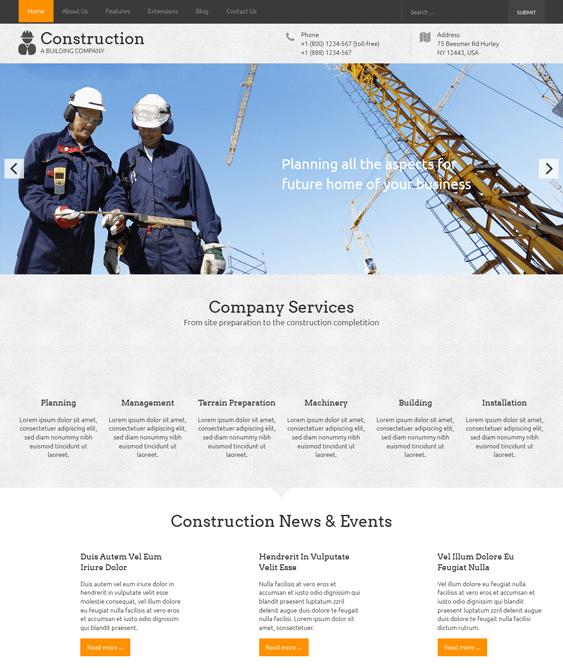 construction contractors joomla templates