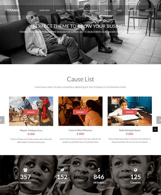 titania charity nonprofit wordpress themes