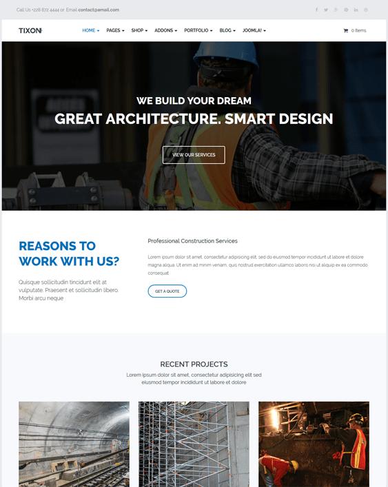 tixon construction contractors joomla templates