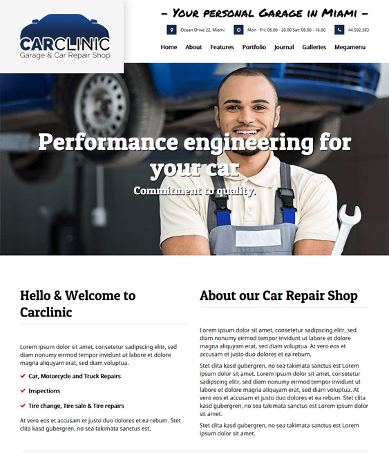 carclinic car vehicle automotive wordpress themes