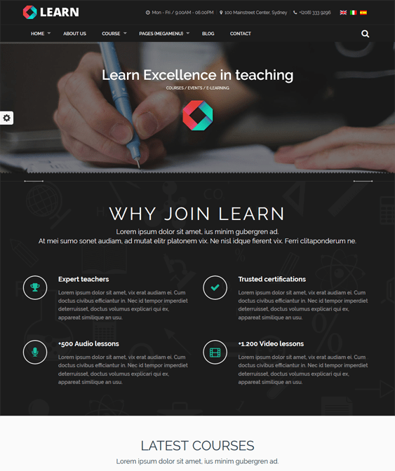 learn education wordpress themes