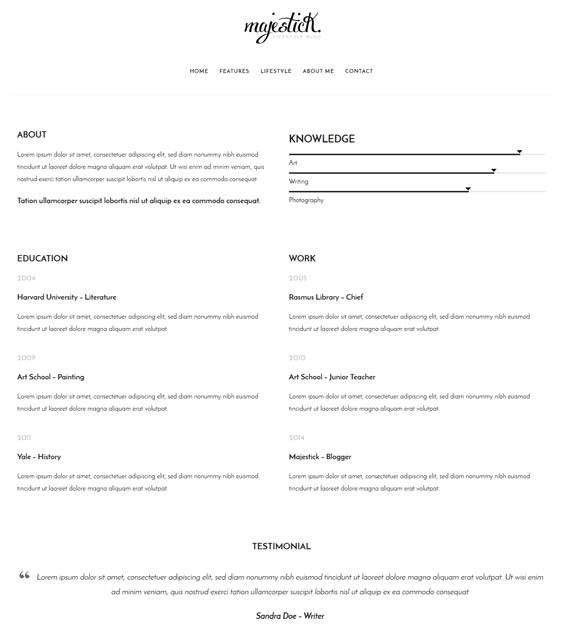 majestick cv resume wordpress themes