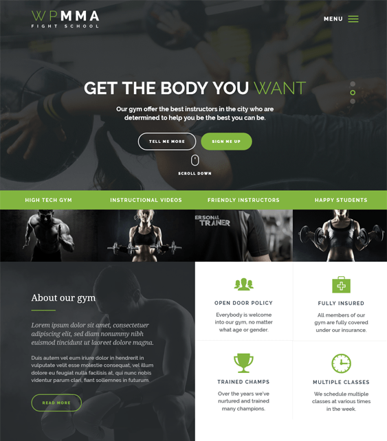 wp mma gym fitness wordpress themes