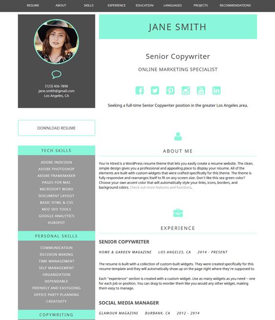 youre hired cv resume wordpress themes