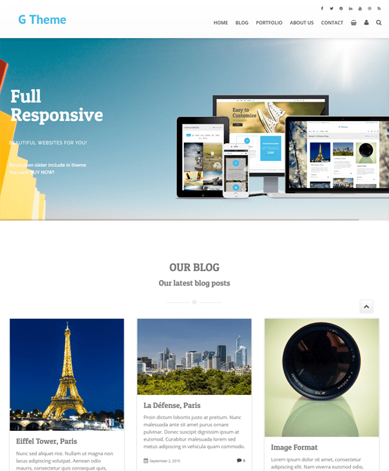 g theme one page wordpress themes