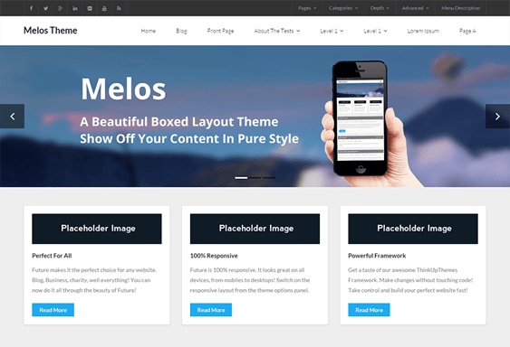 melos free wordpress themes promoting apps