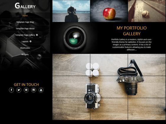 portfolio gallery free dark wordpress themes