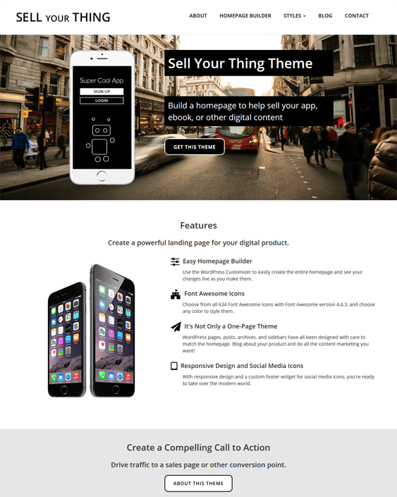 sell your thing wordpress themes promoting apps
