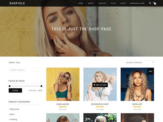 shop isle free parallax wordpress themes