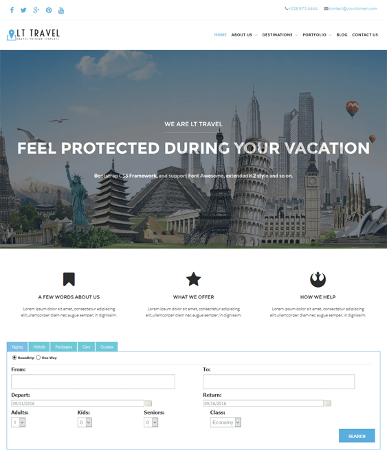 lt travel hotel wordpress themes