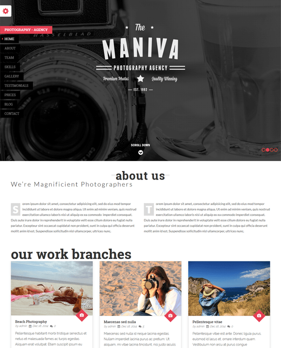 photography one page wordpress themes