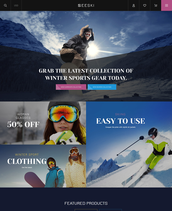 skiing sports fitness shopify themes