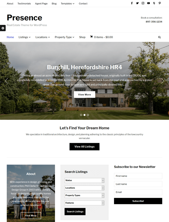 presence real estate wordpress themes