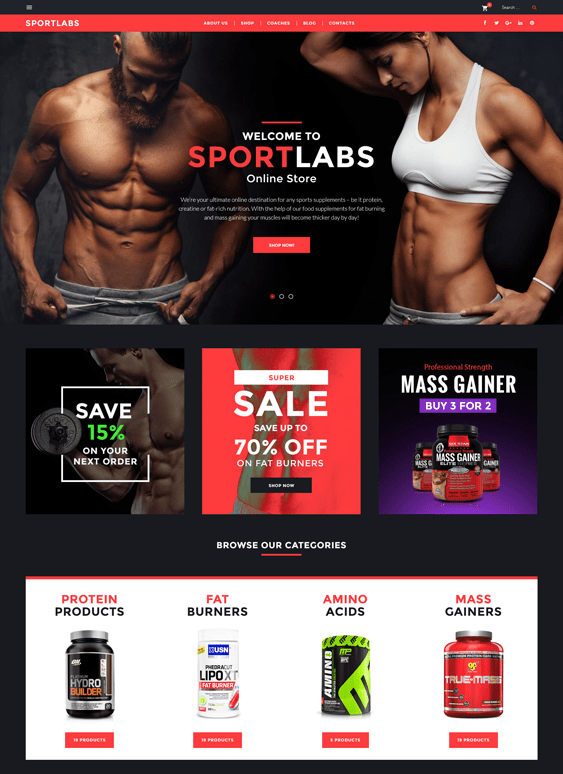 sportlabs gym fitness wordpress themes