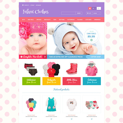 Infant Clothes PrestaShop Theme (PrestaShop theme for selling clothing for kids, children, and babies) Item Picture