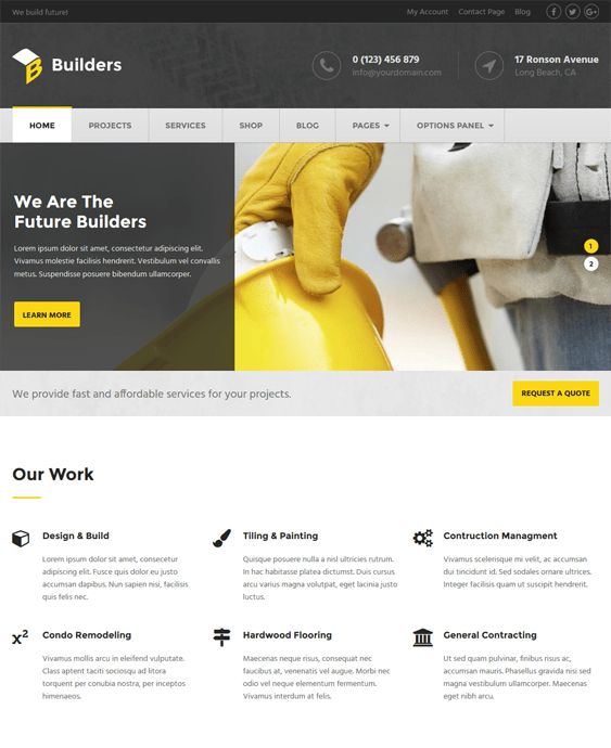 builders construction wordpress themes