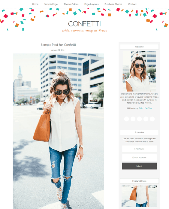 confetti feminine wordpress themes
