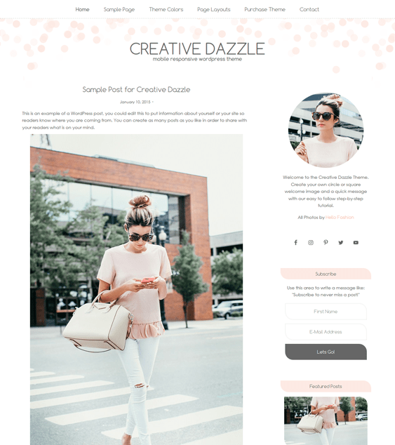 creative dazzle feminine wordpress themes