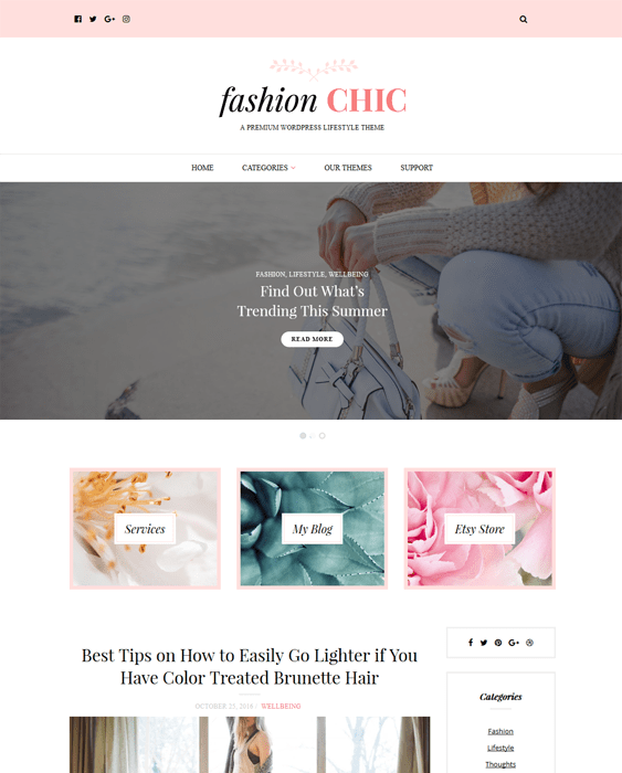 fashion blog wordpress themes chic