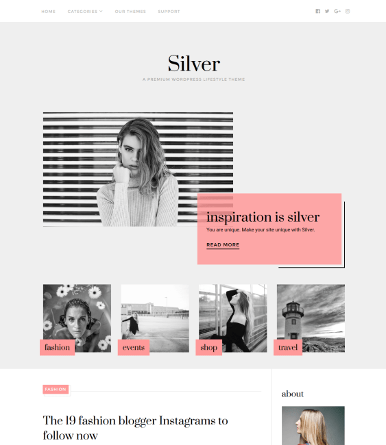 silver fashion blog wordpress themes