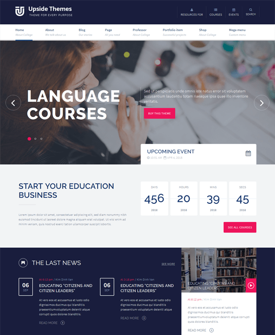 upside education drupal themes