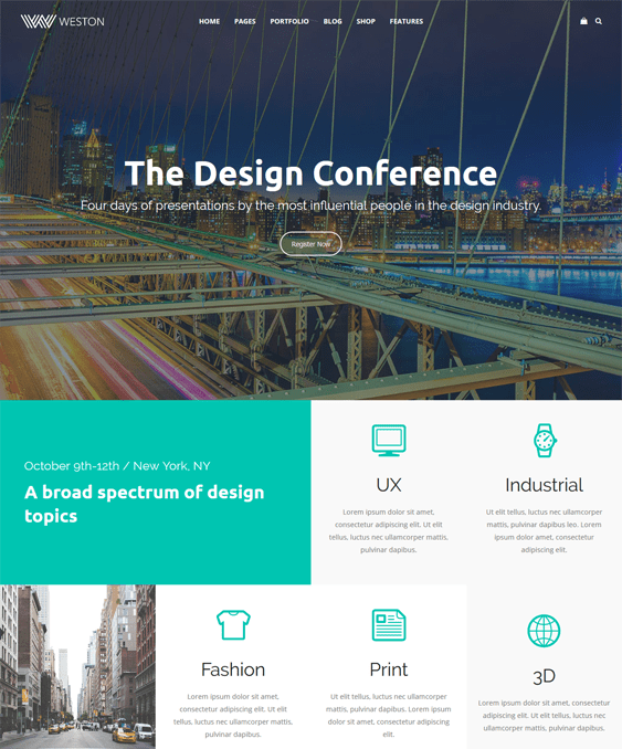 weston wordpress themes events