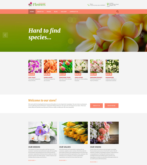 flower shop florist joomla template