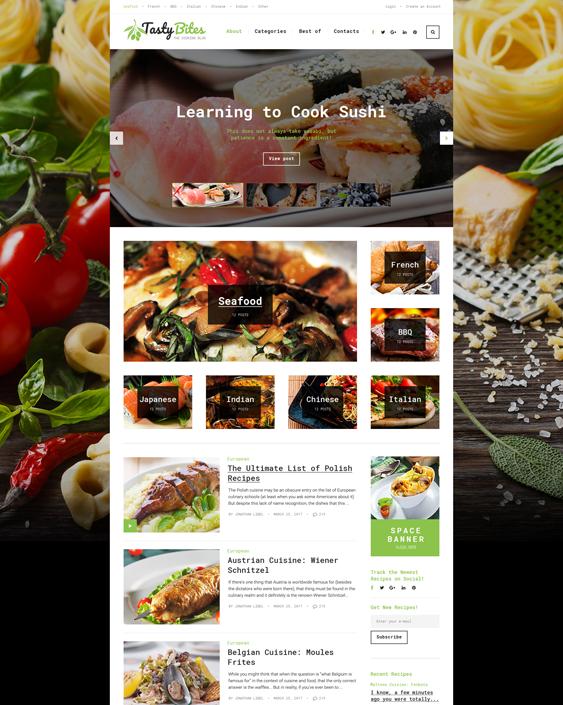 tastybites food recipe websites blogs wordpress themes