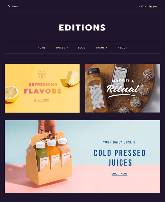editions shopify themes food drink online stores
