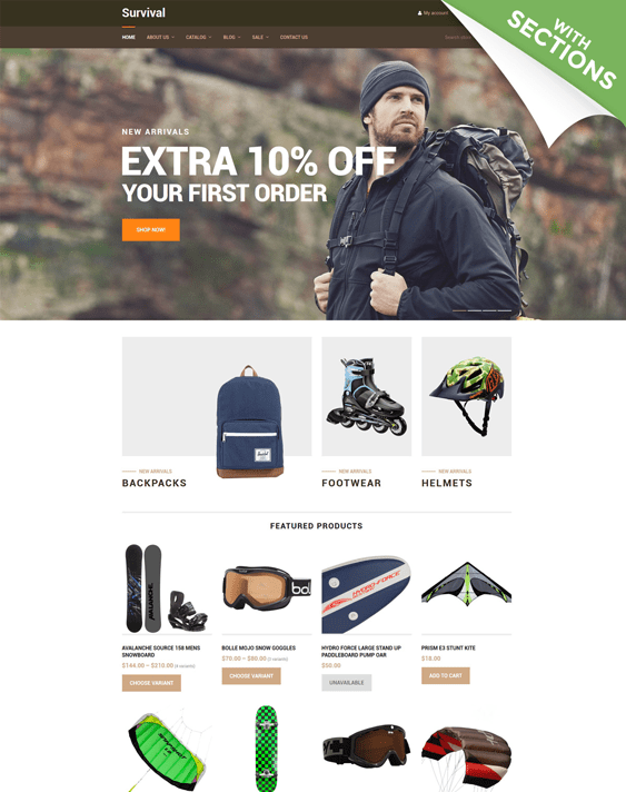 survival sports fitness shopify themes