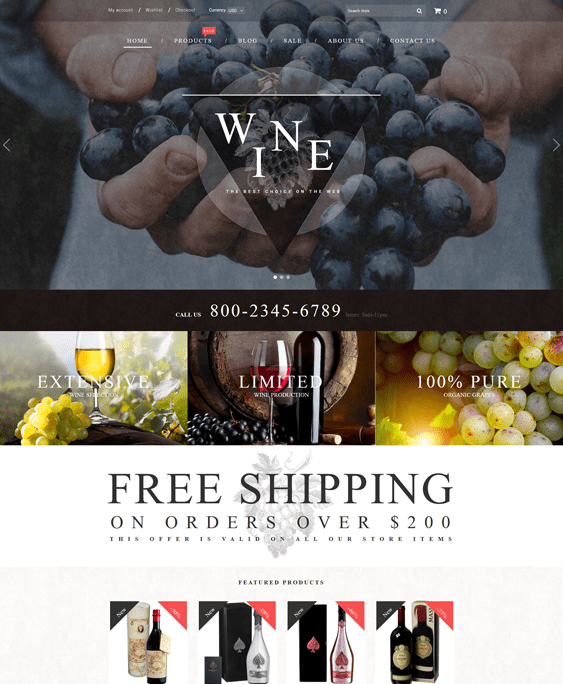 wine shopify themes food drink online stores