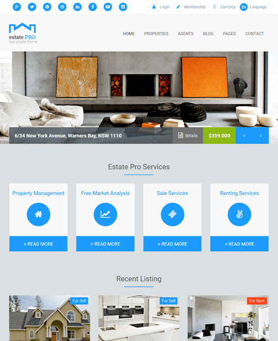 estate real estate wordpress themes