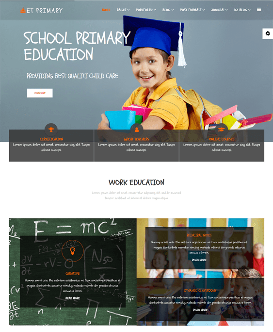 et primary kids joomla templates