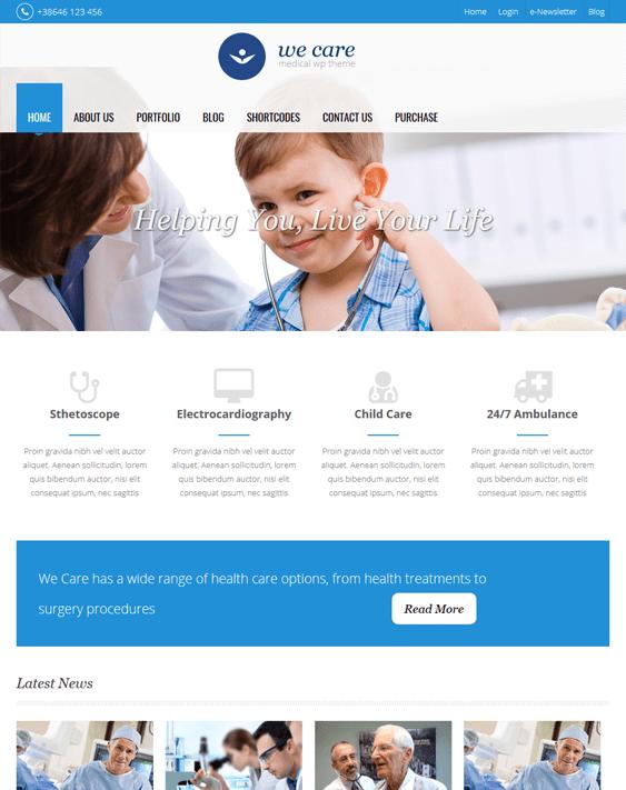 we care medical wordpress themes