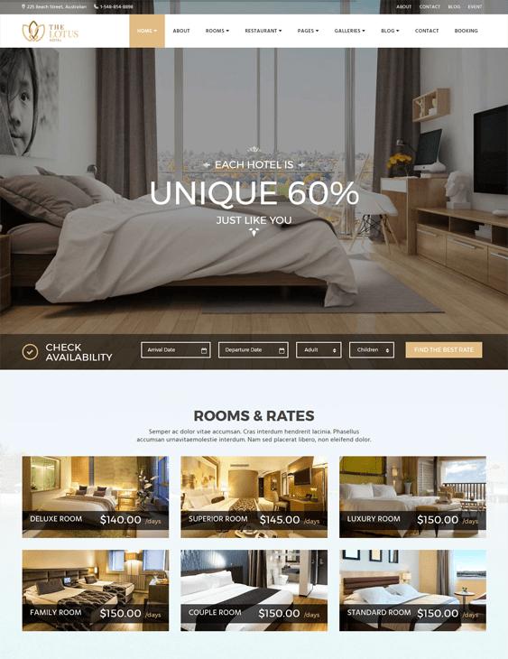 lotus hotel wordpress themes