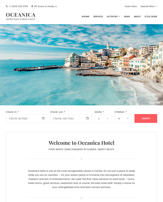 oceanica hotel wordpress themes