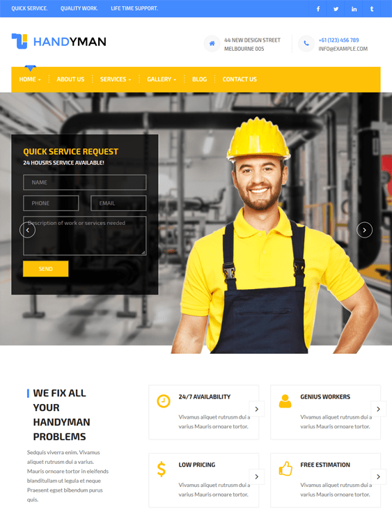 handyman contractor construction companies wordpress themes