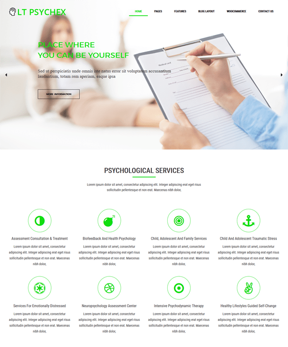 lt psychex medical wordpress themes doctors clinics feature