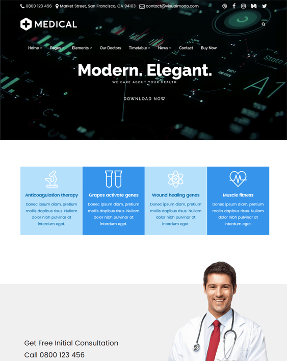 medical wordpress themes doctors clinics feature