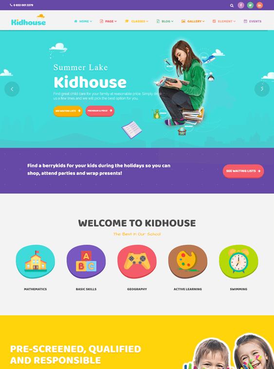 kidhouse kids wordpress themes