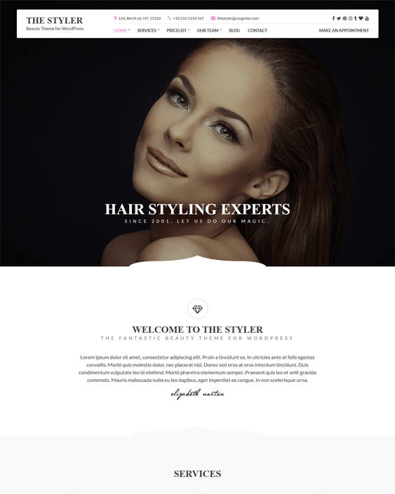 styler beauty salon spa wordpress themes