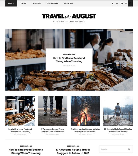 august travel wordpress theme