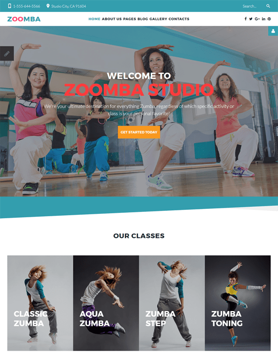 dance fitness wordpress themes