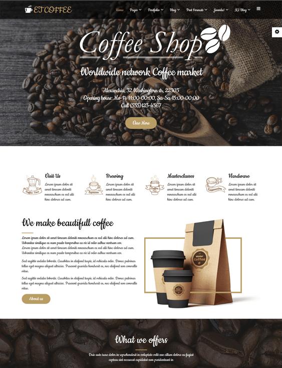 et coffee restaurant joomla templates